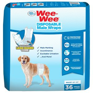 FOUR PAWS WEE-WEE DISPOSABLE MALE DOG WRAPS MEDIUM/ LARGE, 36 PACK